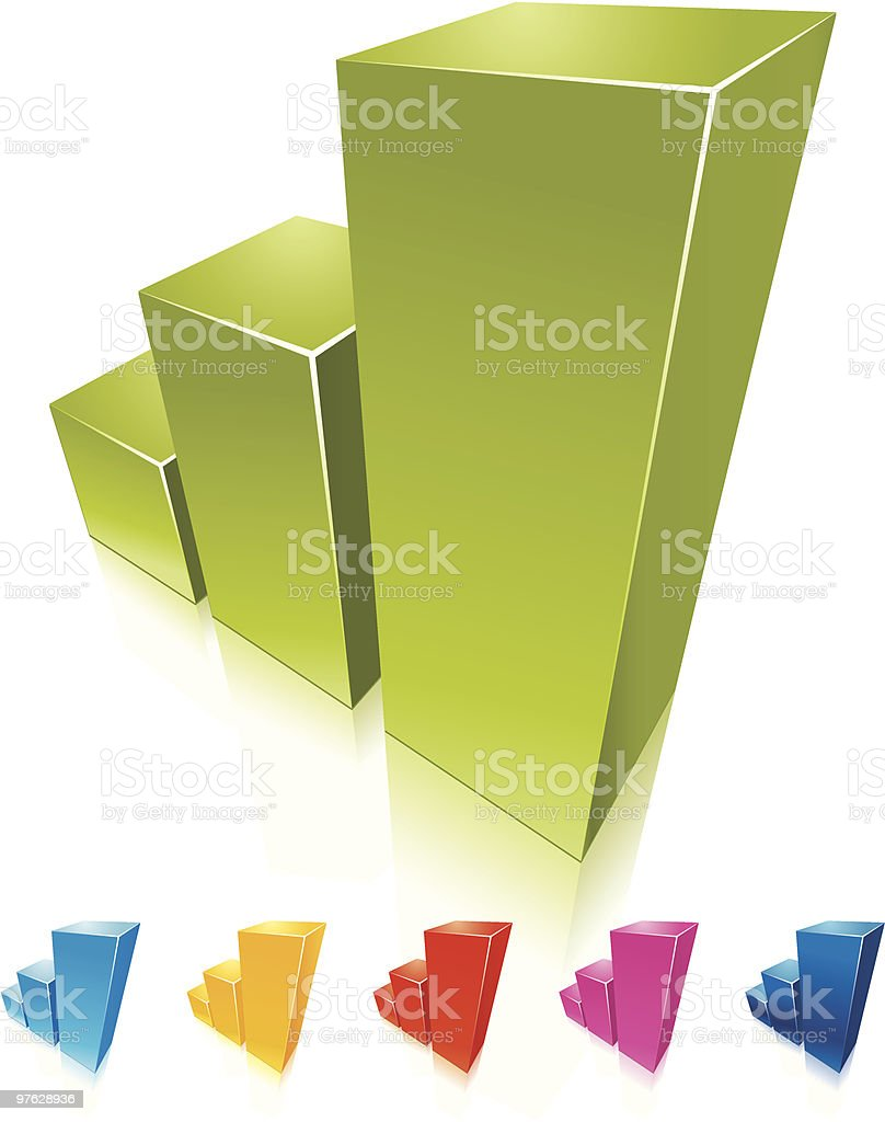 Collection of colorful graphs growing up. royalty-free stock vector art