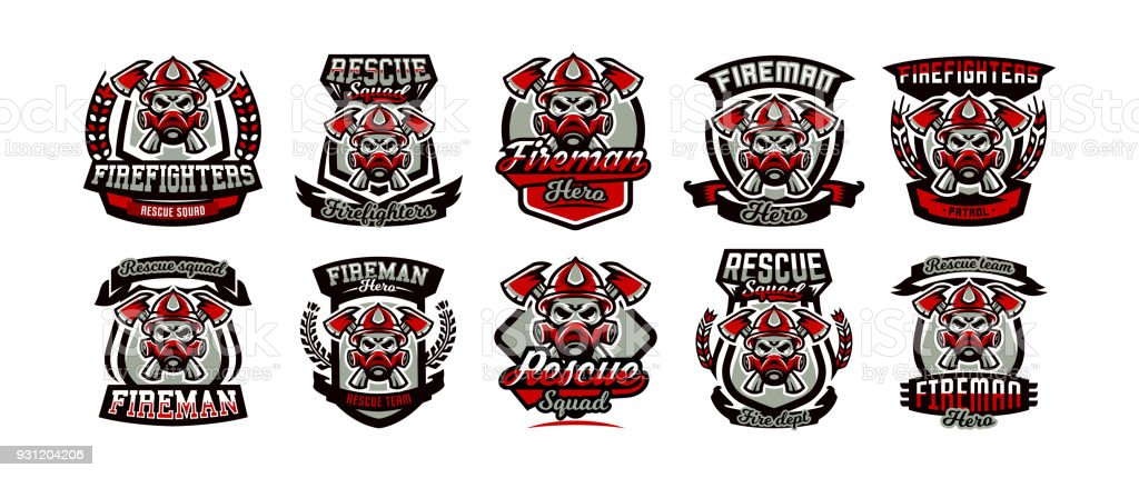 a collection of colorful icons emblems labels fireman and dangerous