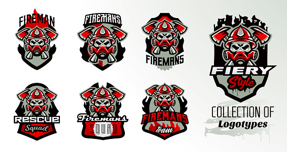 Collection of colorful icons, logos, stickers, emblems fireman s skull in a gas mask and axes. Protection, rescue squad, uniform, bones, tools, fire, shield, lettering, print. Vector illustration