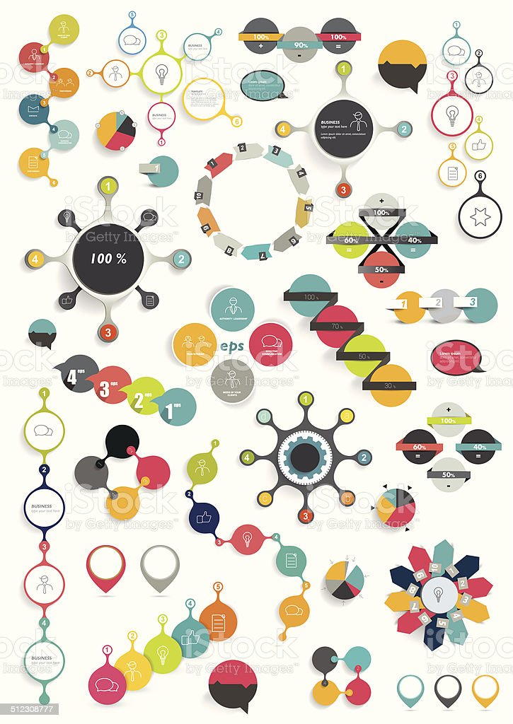 Collection of colorful round info graphics diagrams. Circle schemes. vector art illustration