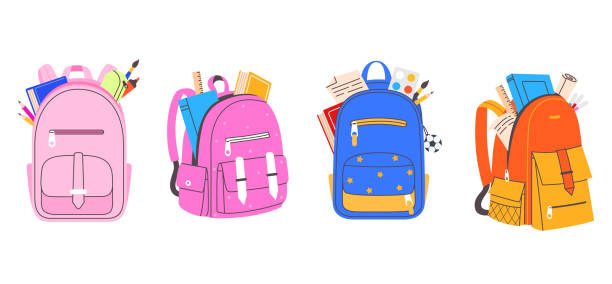 Collection of colorful school bags for boys and girls. Backpack full of stationery objects vector illustration in flat cartoon style. Back to school. Element for your design. vector art illustration