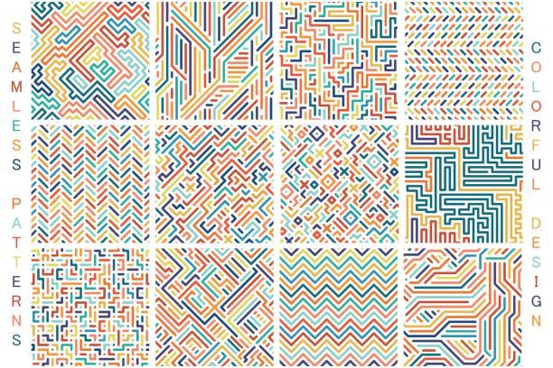 illustrazioni stock, clip art, cartoni animati e icone di tendenza di collection of colorful seamless geometric patterns. fashion 80-90s. - young digital