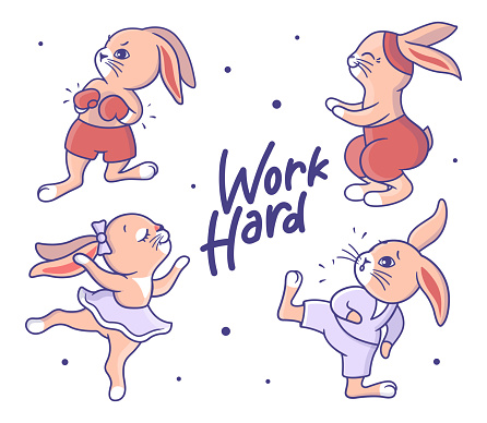 Collection of colorful sport bunnies. Cartoon rabbits