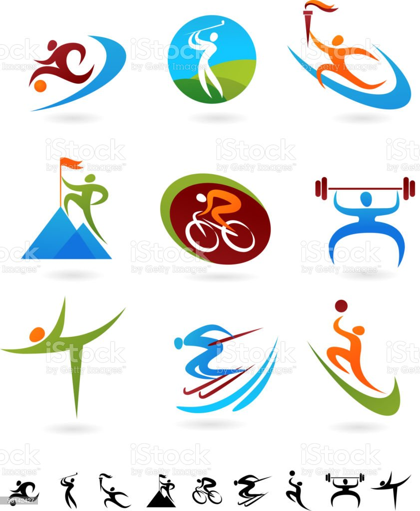 Collection of colorful sports icons royalty-free collection of colorful sports icons stock vector art & more images of activity