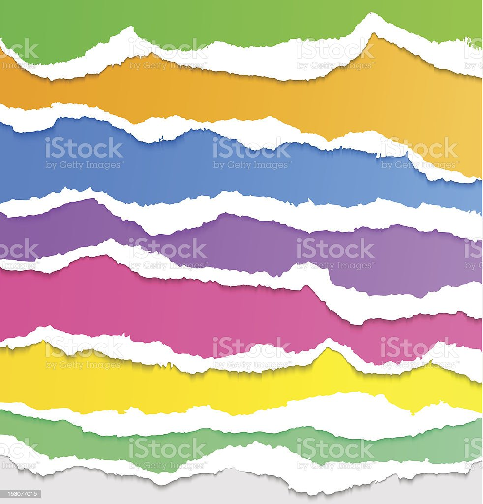 Collection of colorful torn paper royalty-free stock vector art