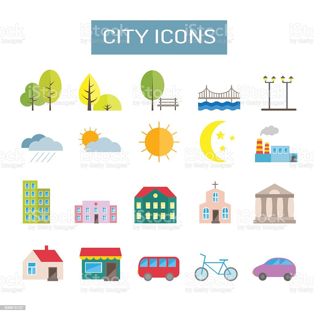 Collection of colorful vector flat city icons vector art illustration