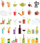 Collection of colorfully illustrated drink related icons
