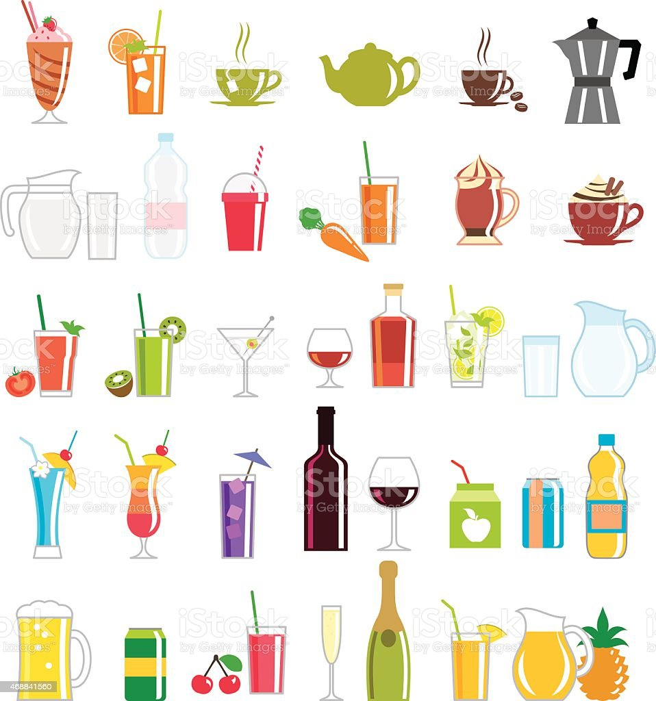 Collection of colorfully illustrated drink related icons vector art illustration