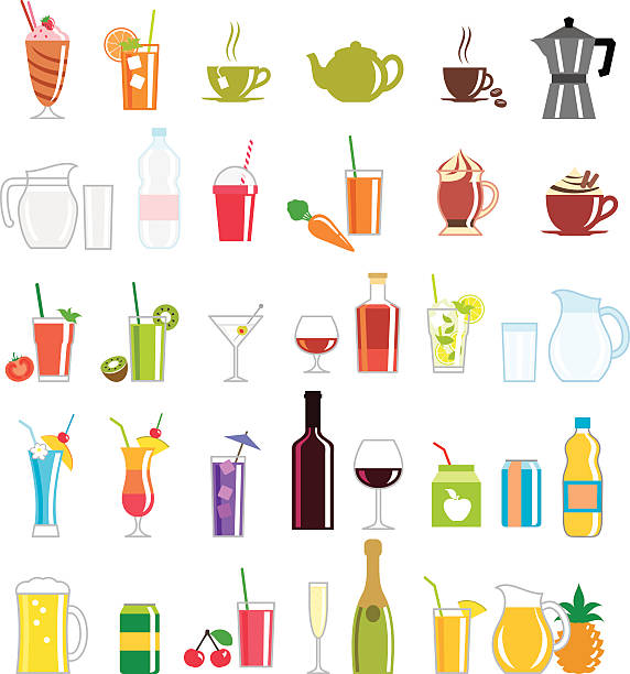 Collection of colorfully illustrated drink related icons A collection of drink icons. alcohol drink clipart stock illustrations