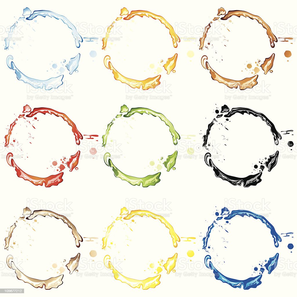 Collection of  colourful blots. royalty-free collection of colourful blots stock vector art & more images of black color