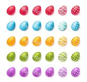 Collection of colourful easter eggs isolated on white. Vector illustration