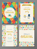Collection of colourful poster for Carnival party. Vector.