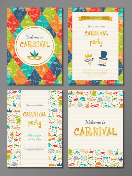 Collection of colourful poster for Carnival party. Vector. vector art illustration