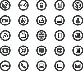 A collection of communication icons on a white background