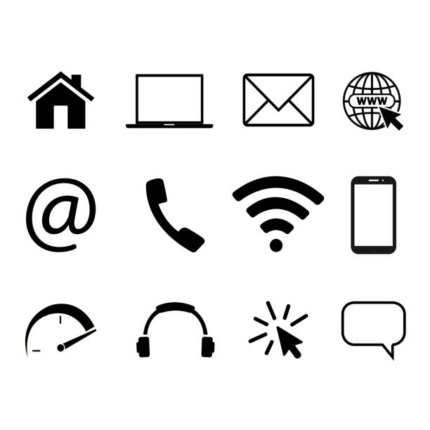 Collection of communication symbols. Contact, e-mail, mobile phone, message, wireless technology icons. Vector illustration Collection of communication symbols. Contact, e-mail, mobile phone, message, wireless technology icons. Vector illustration email signs stock illustrations