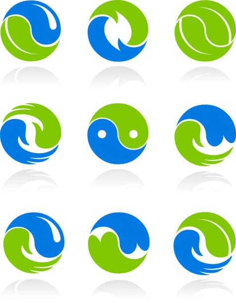 Collection of conceptual Yin Yang symbols  yin yang symbol stock illustrations