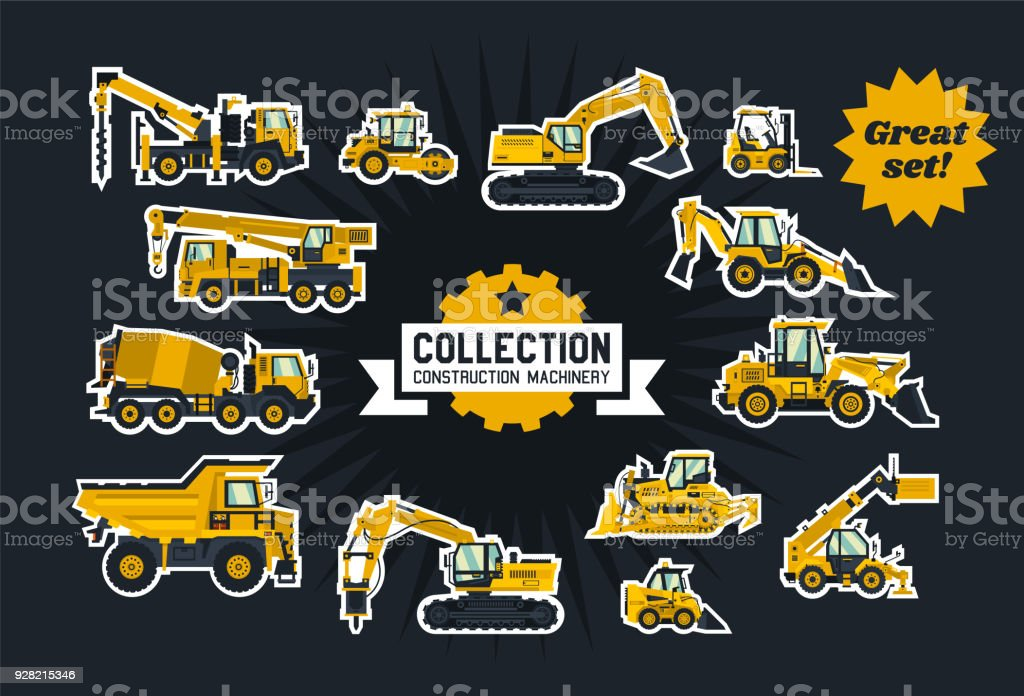 Collection of construction equipment. Special equipment. Objects circled white outline and isolated on a dark background. Excavators, bulldozers, cement mixers, crane truck, paver. Flat style vector art illustration