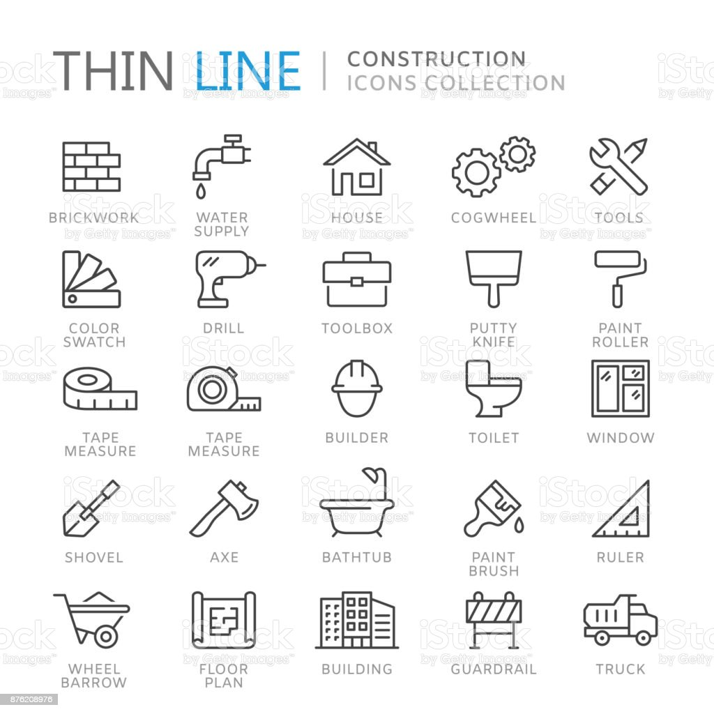 Collection of construction thin line icons royalty-free collection of construction thin line icons stock illustration - download image now