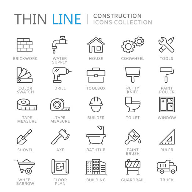 Collection of construction thin line icons Collection of construction thin line icons. Vector eps10 gardening equipment stock illustrations