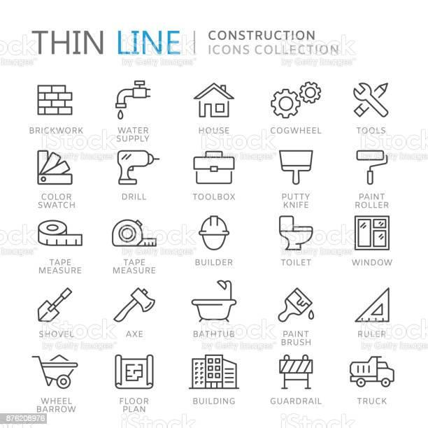 Sammlung Von Bau Dünne Linie Icons Stock Vektor Art und mehr Bilder von Icon