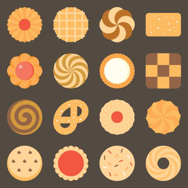 Collection of cookie and biscuits set 2 vector art illustration