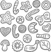 Collection of homemade cookies, vector black and white set of Christmas baking.