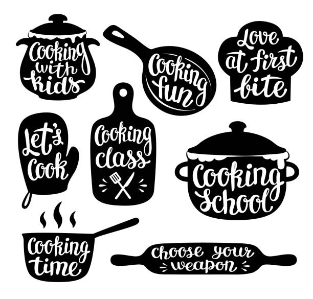 Collection of cooking label or logo. Hand written lettering, calligraphy cooking vector illustration. Collection of cooking label or logo. Hand written lettering, calligraphy cooking vector illustration. Cook, chef, kitchen utensils icon or logo. rolling pin stock illustrations
