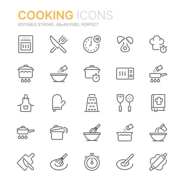 illustrazioni stock, clip art, cartoni animati e icone di tendenza di raccolta di icone di linea relative alla cottura. 48x48 pixel perfetto. tratto modificabile - cucinare