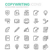 Collection of copywriting related line icons. 48x48 Pixel Perfect. Editable stroke
