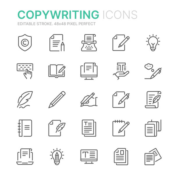 Collection of copywriting related line icons. 48x48 Pixel Perfect. Editable stroke Collection of copywriting related line icons. 48x48 Pixel Perfect. Editable stroke book icons stock illustrations