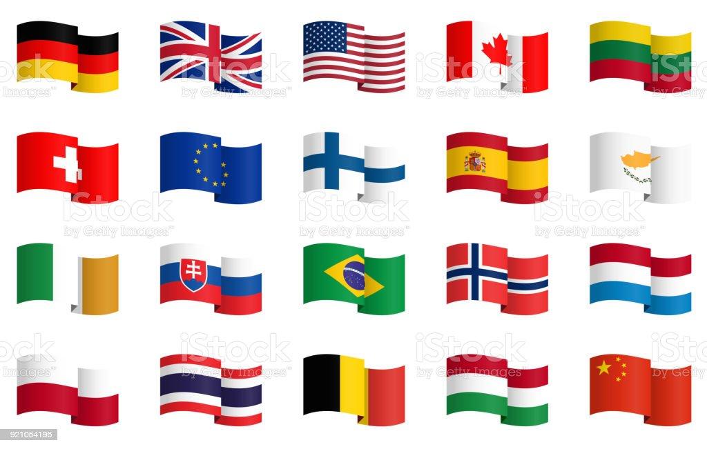 Sammlung von Länderflaggen 1 – Vektorgrafik