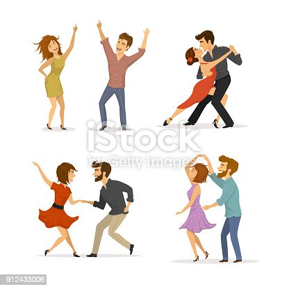 istock collection of couples dancing tango, twist, disco clubbing and romantic dance 912433006