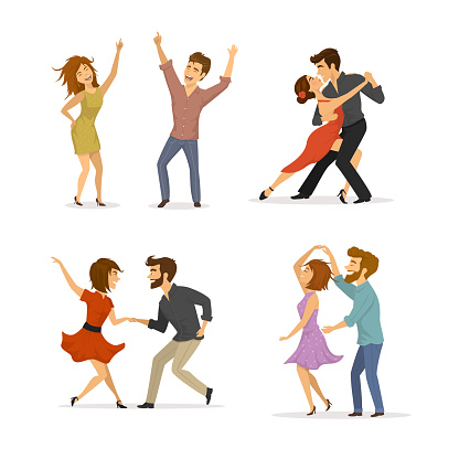 collection of couples dancing tango, twist, disco clubbing and romantic dance clipart
