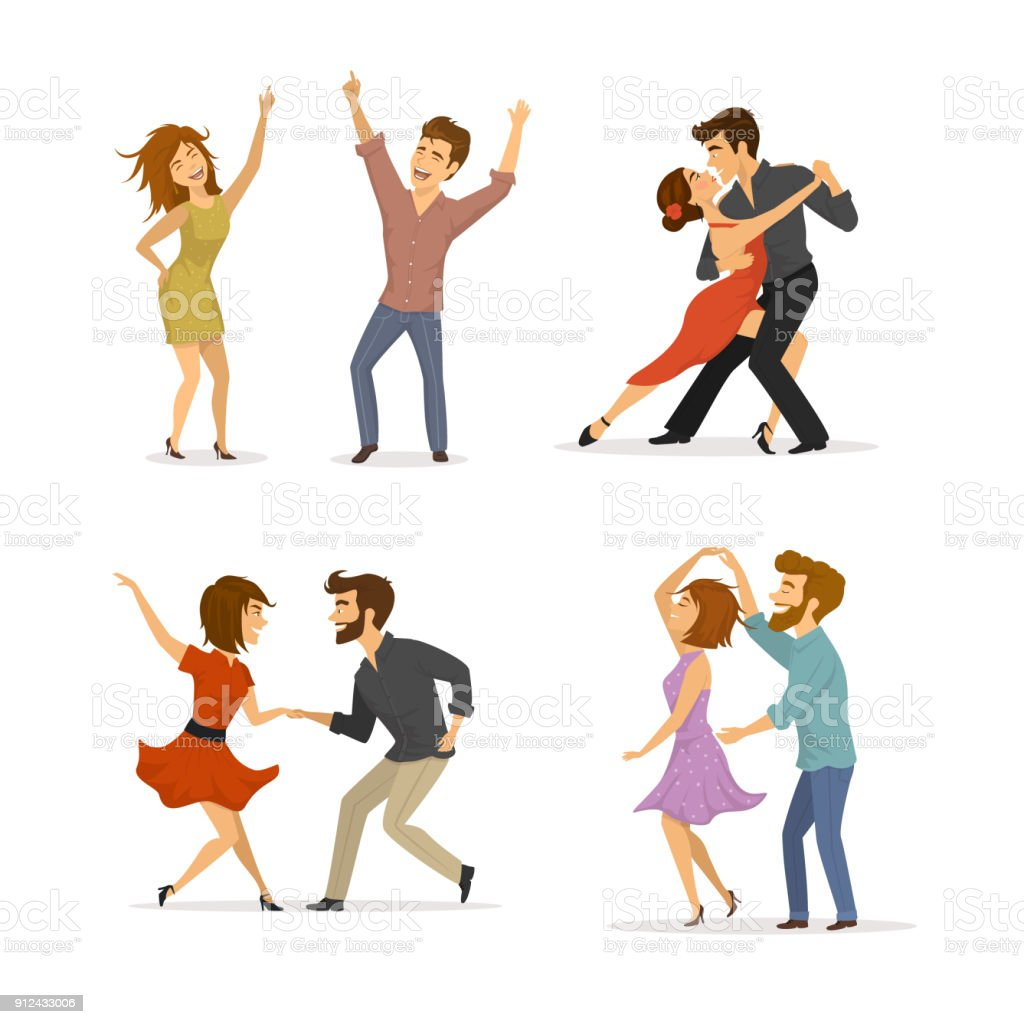 collection of couples dancing tango, twist, disco clubbing and romantic dance vector art illustration