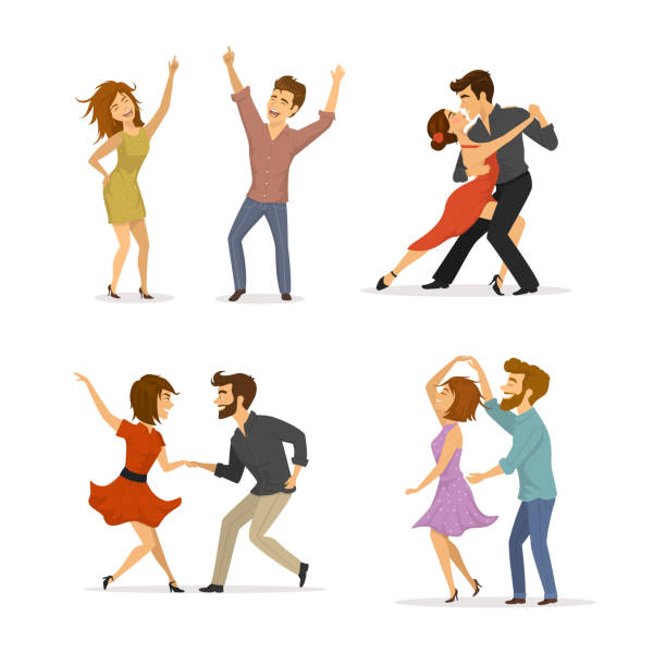 illustrations, cliparts, dessins animés et icônes de collection des couples dansant le tango, twist, disco clubbing et danse romantique - danser