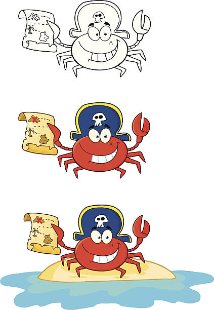 sammlung von krabben - 3 - schatzkarten hintergründe stock-grafiken, -clipart, -cartoons und -symbole