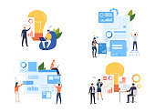 Collection of creative business people working with charts. Flat cartoon characters analyzing information. Vector illustration for planning project, presentation, research