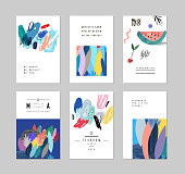 Collection of creative cards and posters with floral elements. Hand drawn textures. Design for poster, card, invitation, placard, brochure, flyer. Vector. Isolated.