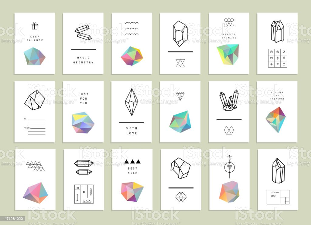 Collection of creative cards. Set of crystals in polygon style vector art illustration