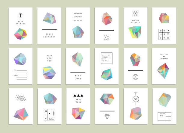 collection of creative cards. set of crystals in polygon style - gemstone stock illustrations, clip art, cartoons, & icons