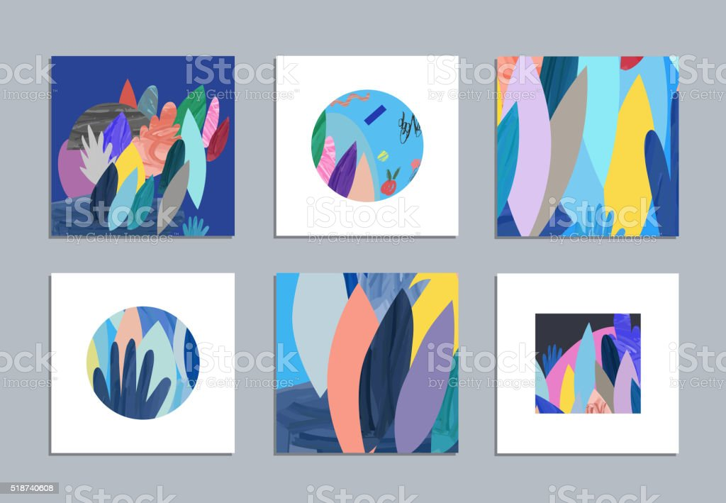 Collection of creative posters with floral elements vector art illustration