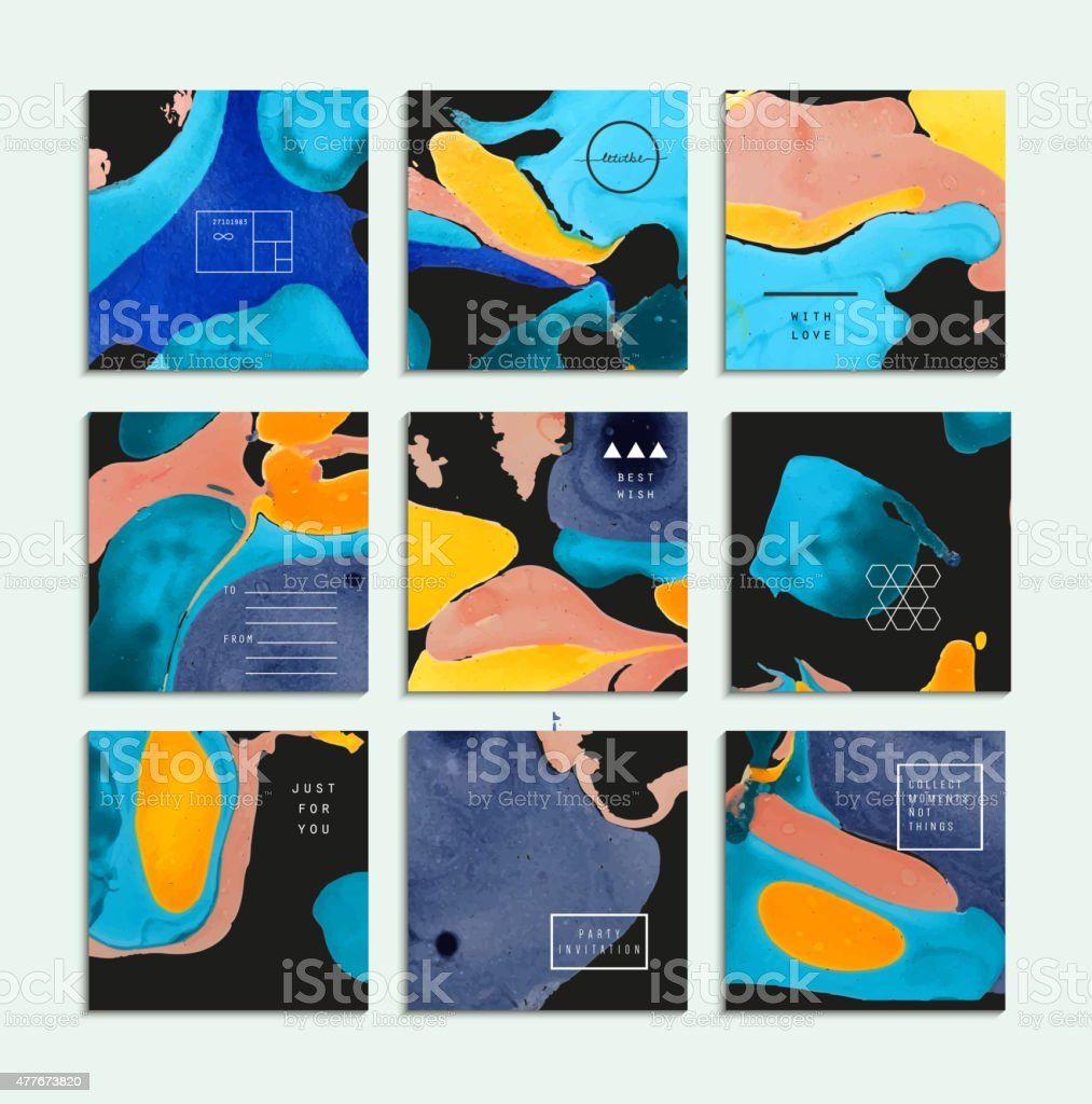 Collection De Cartes Visite Cratives Tendance Peinture Abstraite Des Modles Stock Vecteur Libres