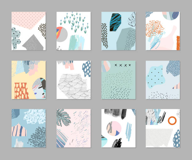 Collection of creative universal artistic floral cards Trendy Graphic Design for banner, poster, card, cover, invitation, placard, brochure natural pattern stock illustrations