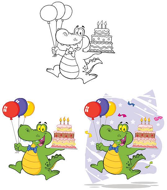 illustrations, cliparts, dessins animés et icônes de collection de crocodile 3 - ballon anniversaire smiley