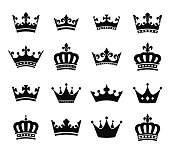 Set of 16 crown vector silhouette symbols. Fully editable EPS10