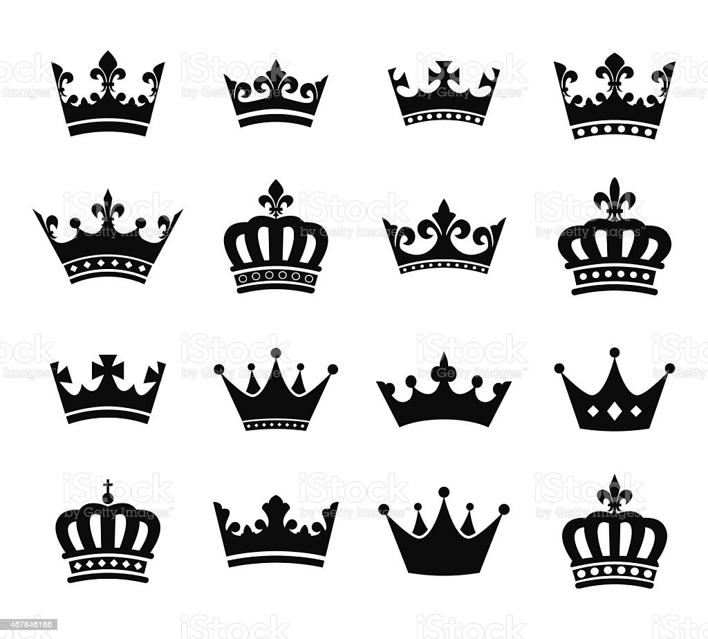 Collection of crown silhouette symbols vol.2 vector art illustration
