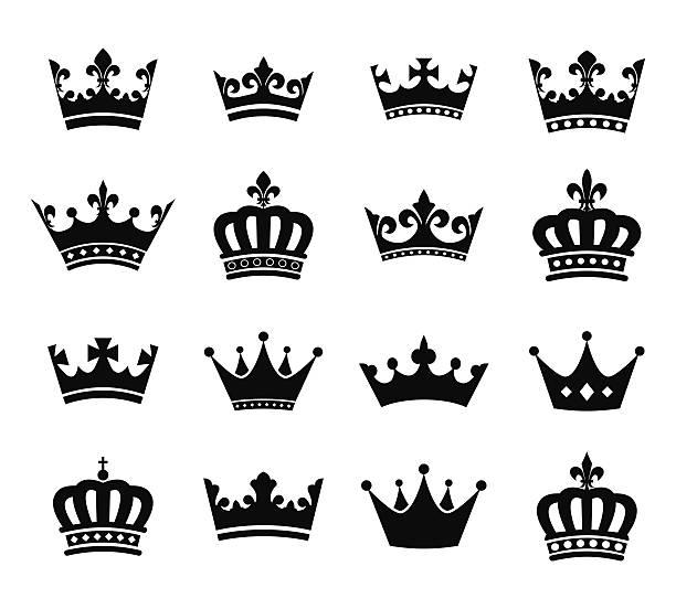 illustrations, cliparts, dessins animés et icônes de collection de couronne de silhouette de symboles vol.2 - couronne reine