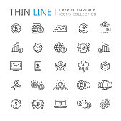istock Collection of cryptocurrency thin line icons 896292078