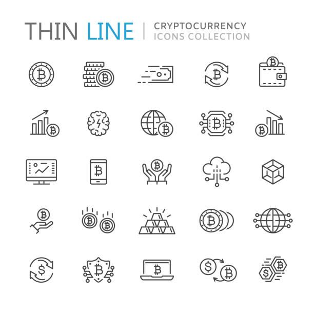 stockillustraties, clipart, cartoons en iconen met verzameling van cryptocurrency dunne lijn icons - bitcoin