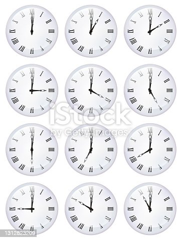 istock Collection of crystal ball clock faces 1312823209